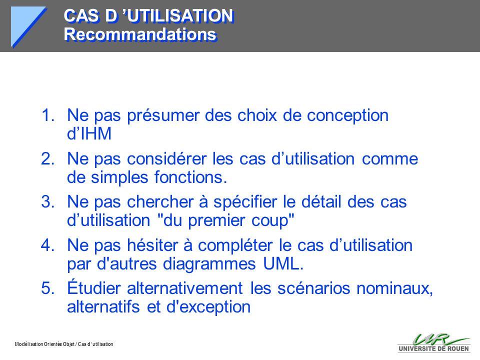CAS D 'UTILISATION Recommandations