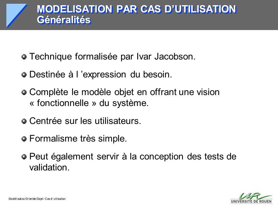 MODELISATION PAR CAS D'UTILISATION Généralités