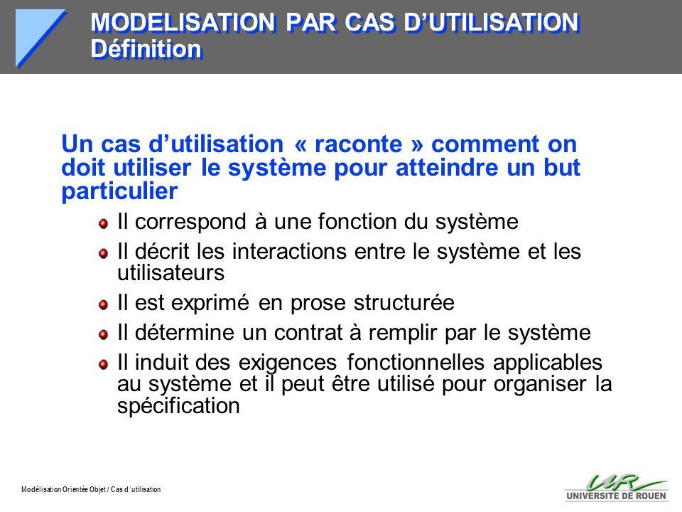 MODELISATION PAR CAS D'UTILISATION Définition