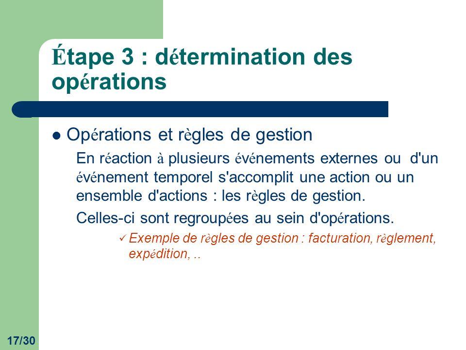 Étape 3 : détermination des opérations