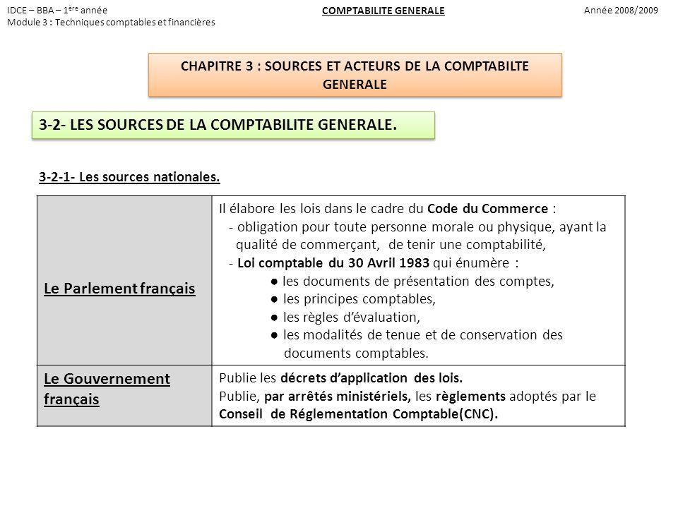 3-2- LES SOURCES DE LA COMPTABILITE GENERALE. Le Parlement français