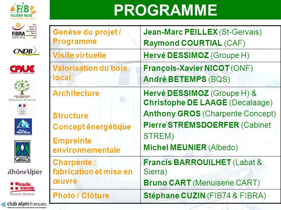 PROGRAMME Genèse du projet / Programme Jean-Marc PEILLEX (St-Gervais)