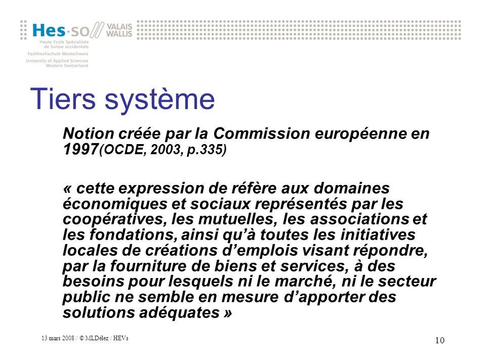 Tiers système Notion créée par la Commission européenne en 1997(OCDE, 2003, p.335)