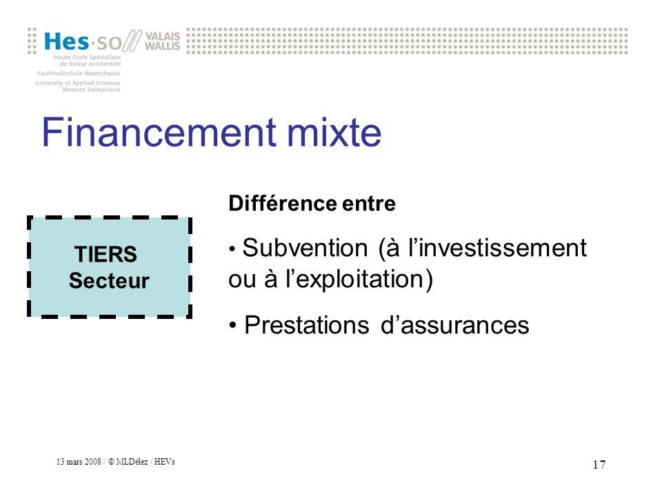 Financement mixte Prestations d'assurances Différence entre