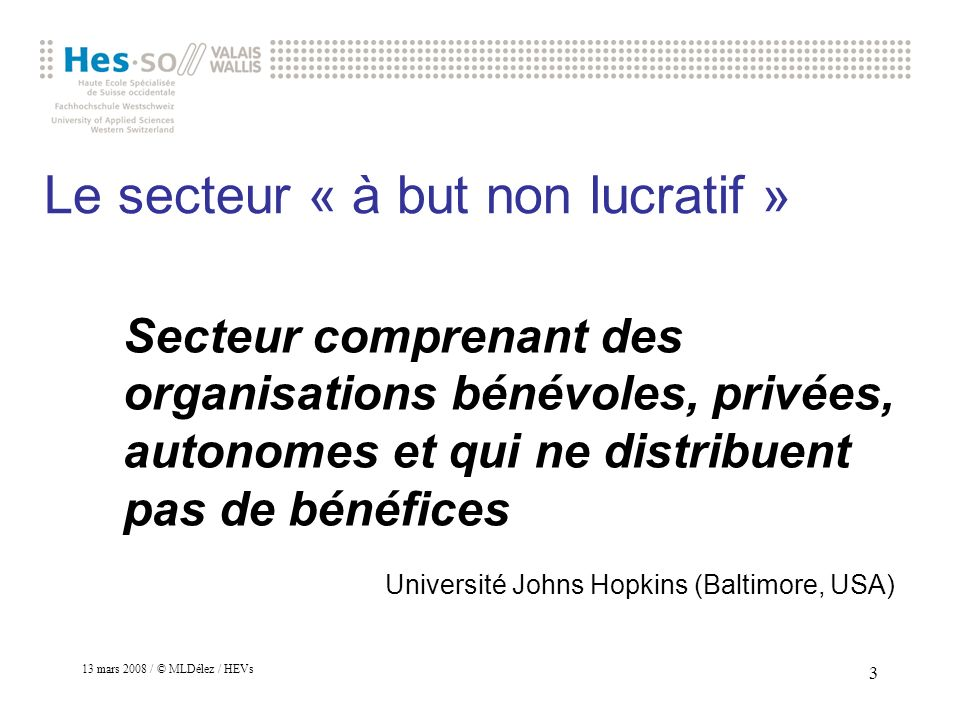 Le secteur « à but non lucratif »