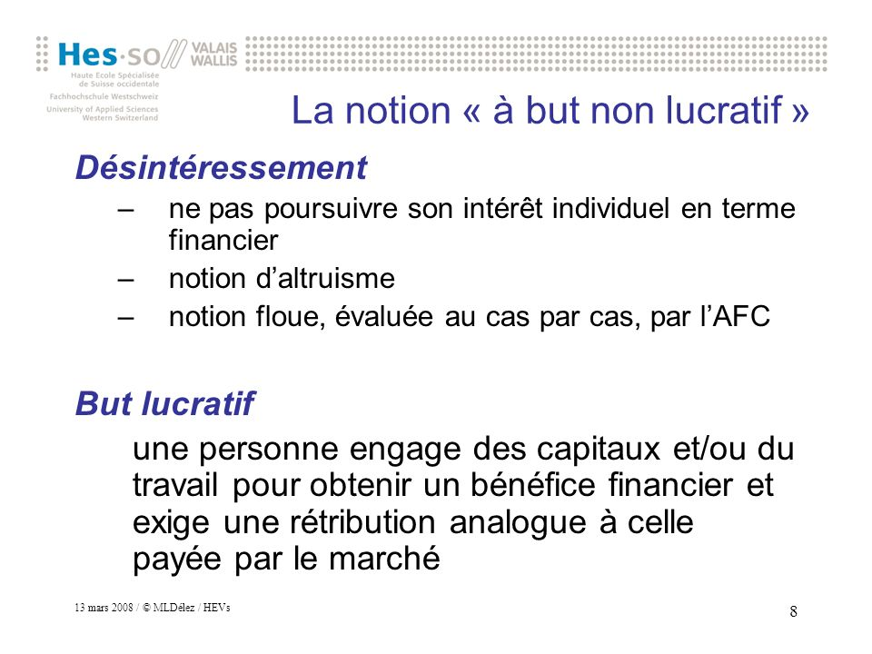 La notion « à but non lucratif »