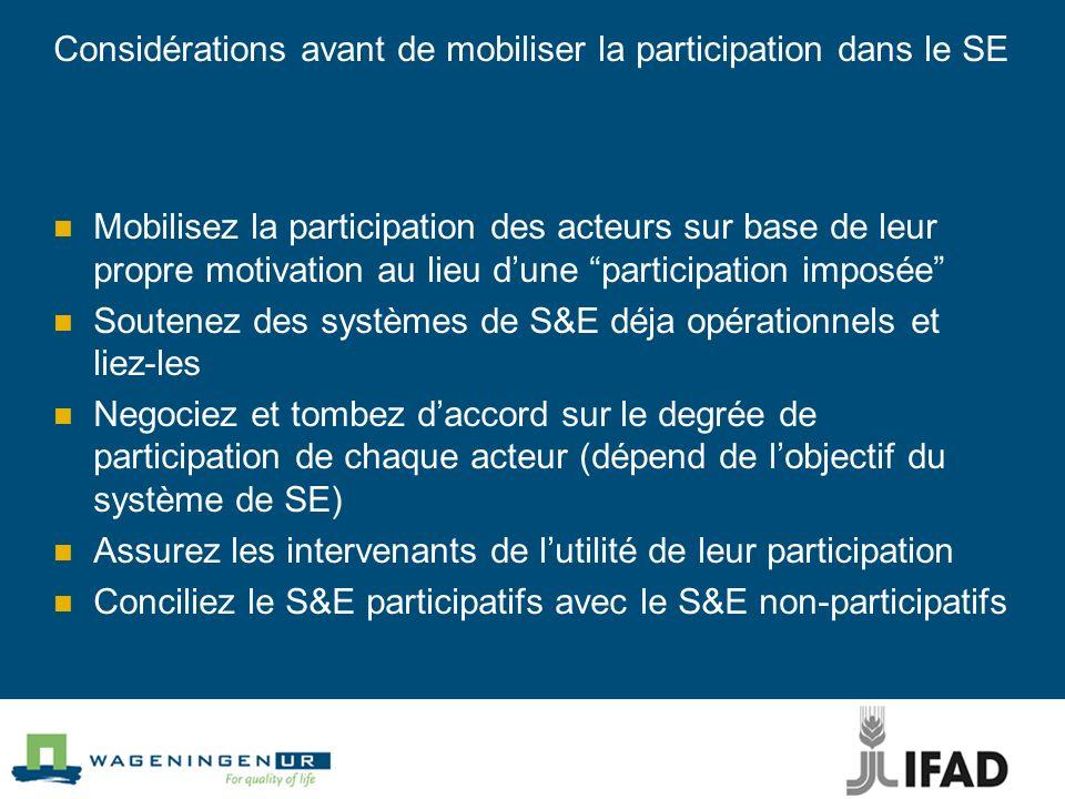 Considérations avant de mobiliser la participation dans le SE