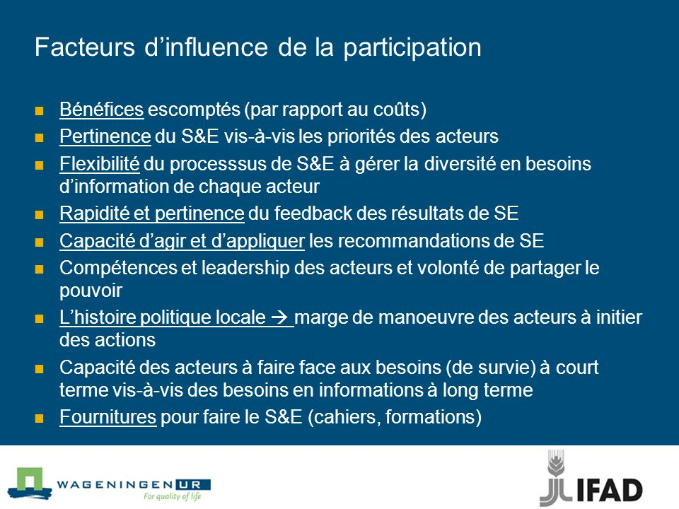 Facteurs d'influence de la participation