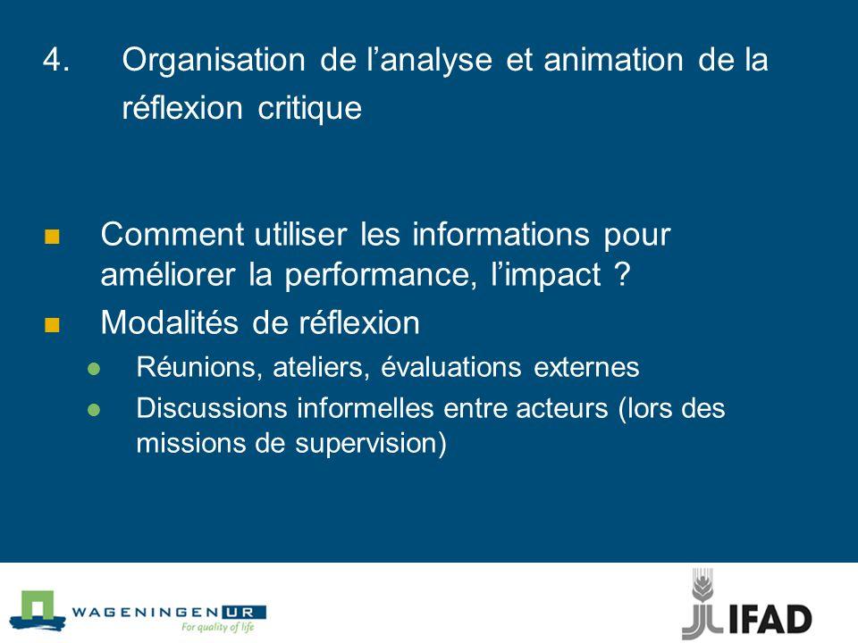 4. Organisation de l'analyse et animation de la réflexion critique