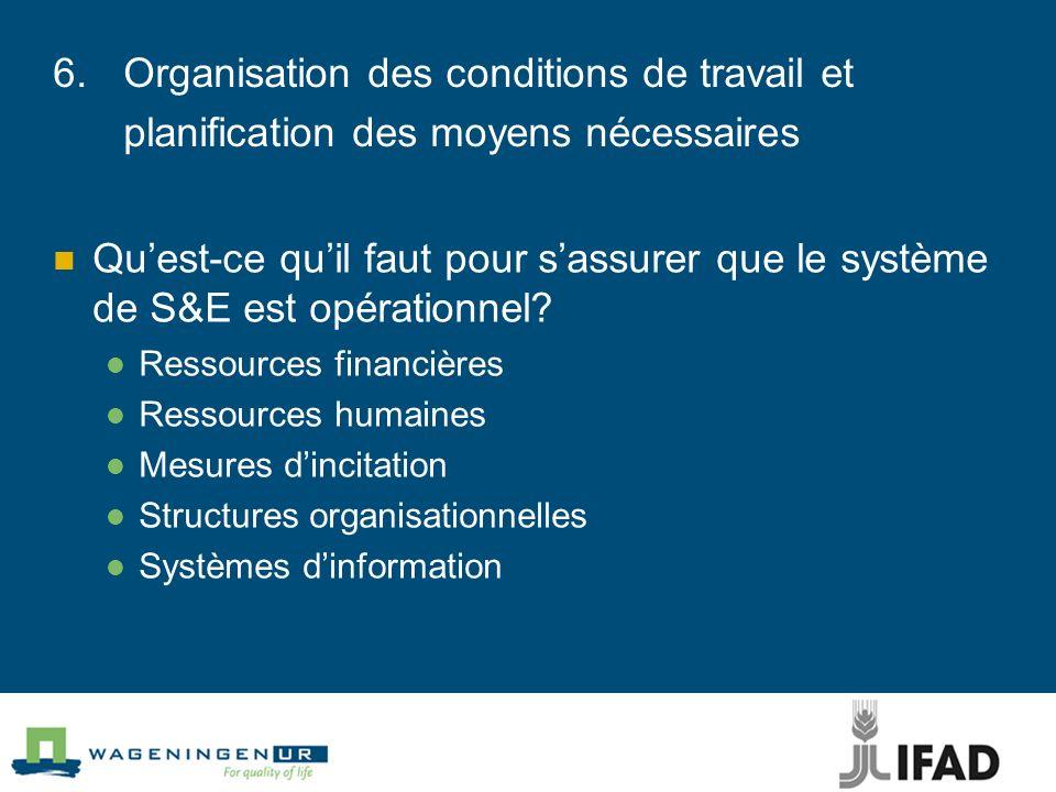 6. Organisation des conditions de travail et planification des moyens nécessaires