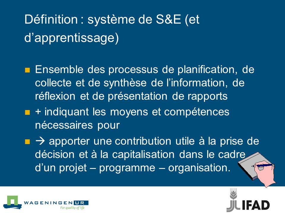 Définition : système de S&E (et d'apprentissage)