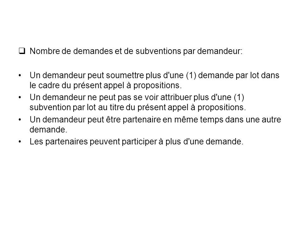 Nombre de demandes et de subventions par demandeur: