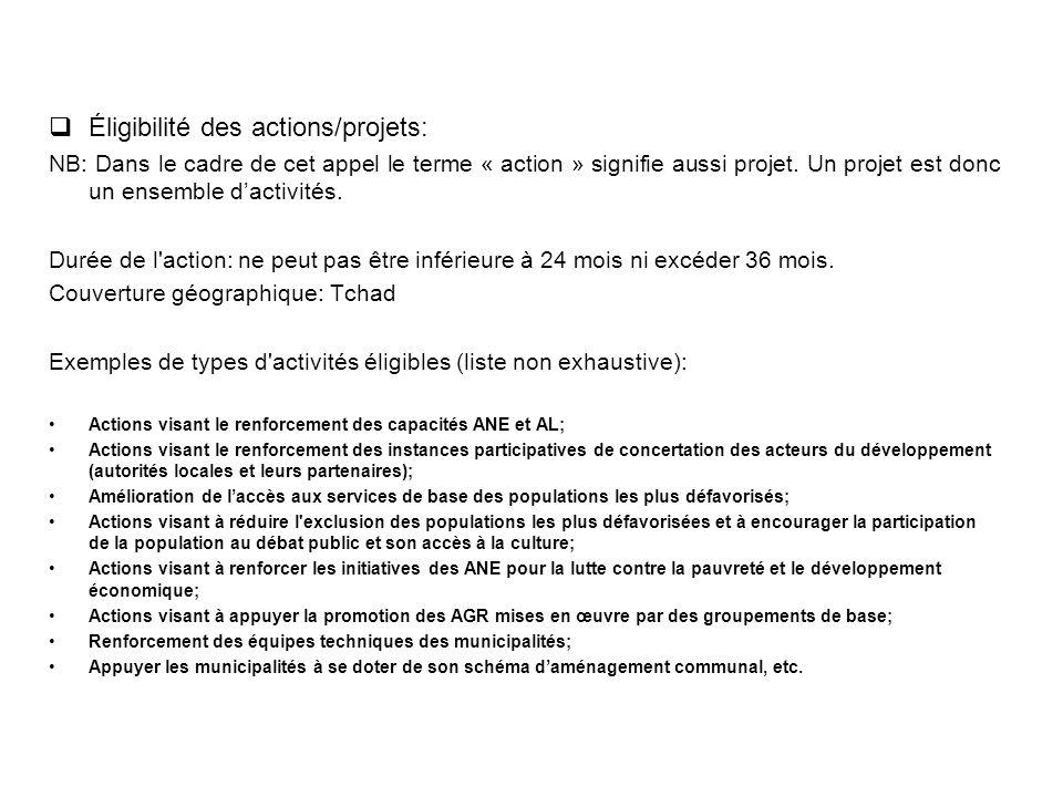 Éligibilité des actions/projets: