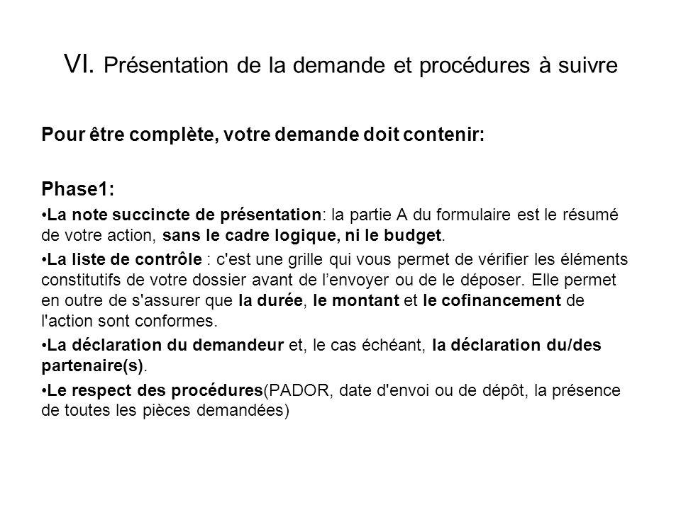 VI. Présentation de la demande et procédures à suivre