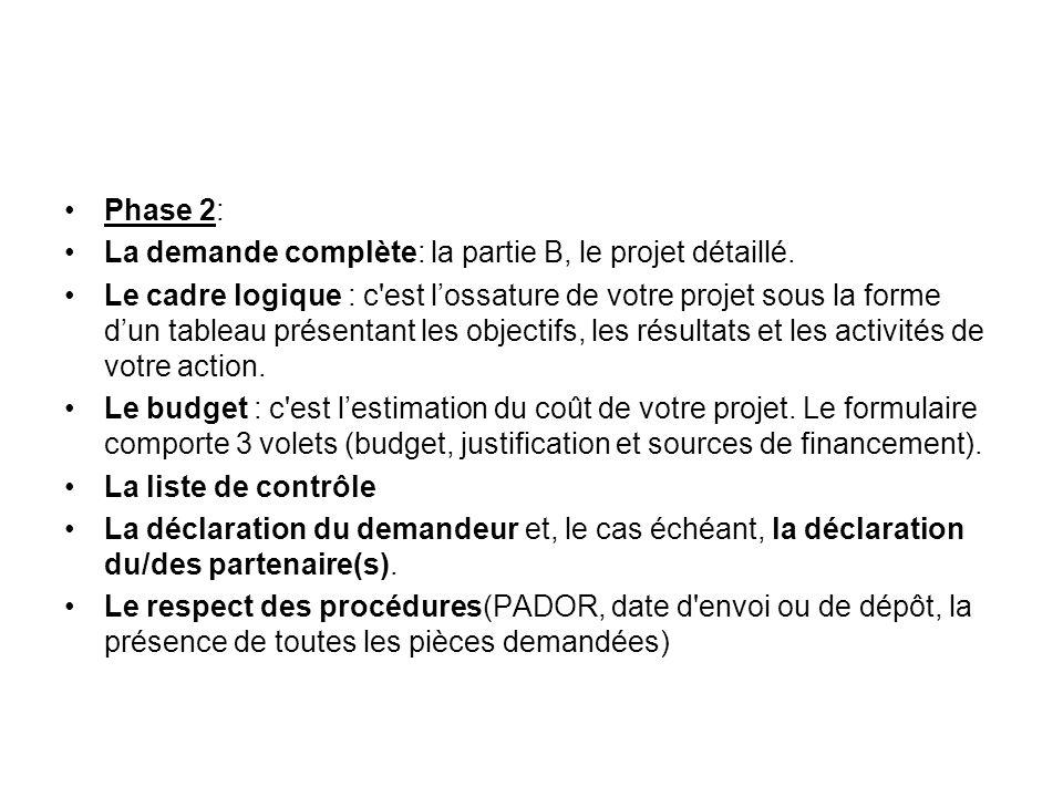 Phase 2: La demande complète: la partie B, le projet détaillé.