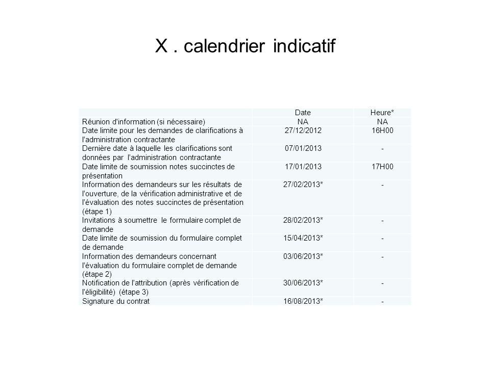 X . calendrier indicatif