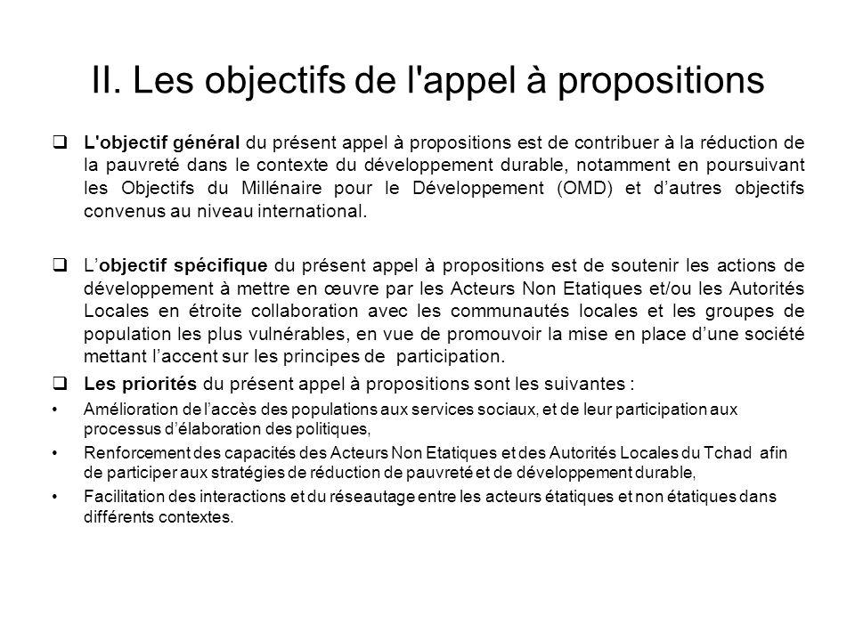 II. Les objectifs de l appel à propositions