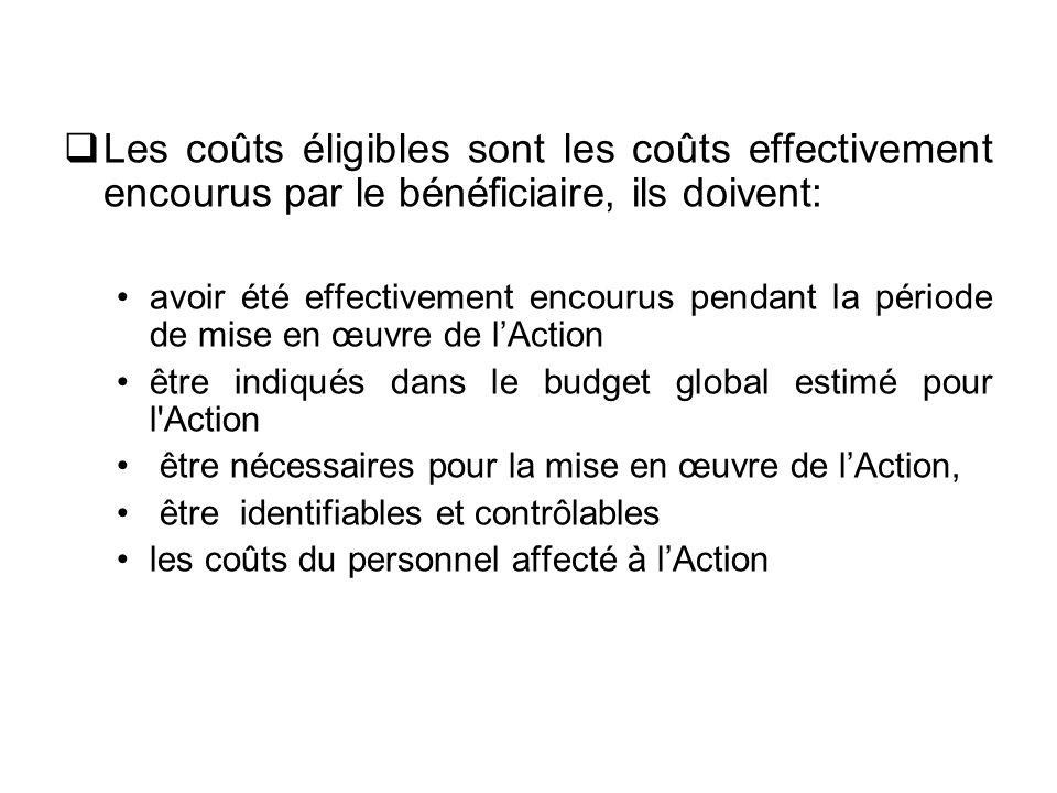 Les coûts éligibles sont les coûts effectivement encourus par le bénéficiaire, ils doivent:
