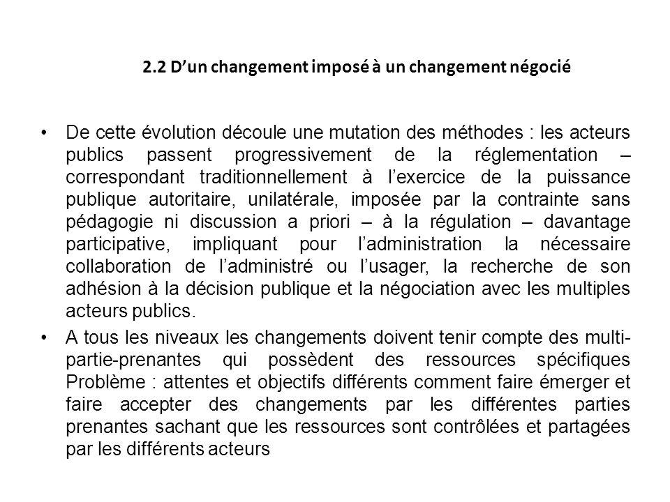 2.2 D'un changement imposé à un changement négocié