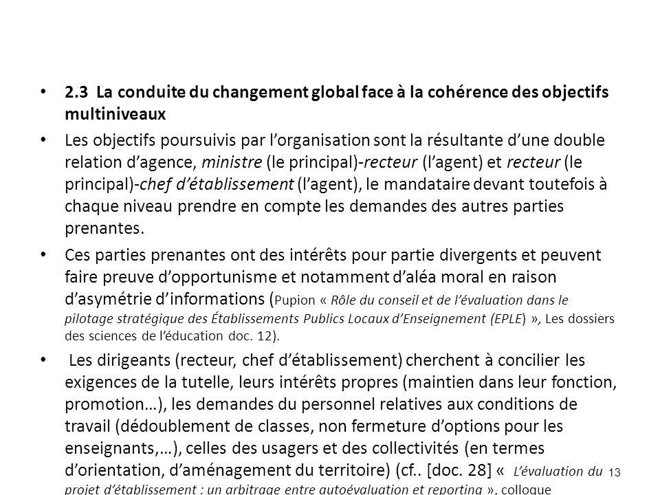 2.3 La conduite du changement global face à la cohérence des objectifs multiniveaux