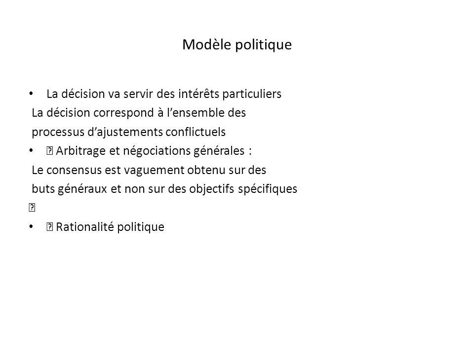 Modèle politique La décision va servir des intérêts particuliers