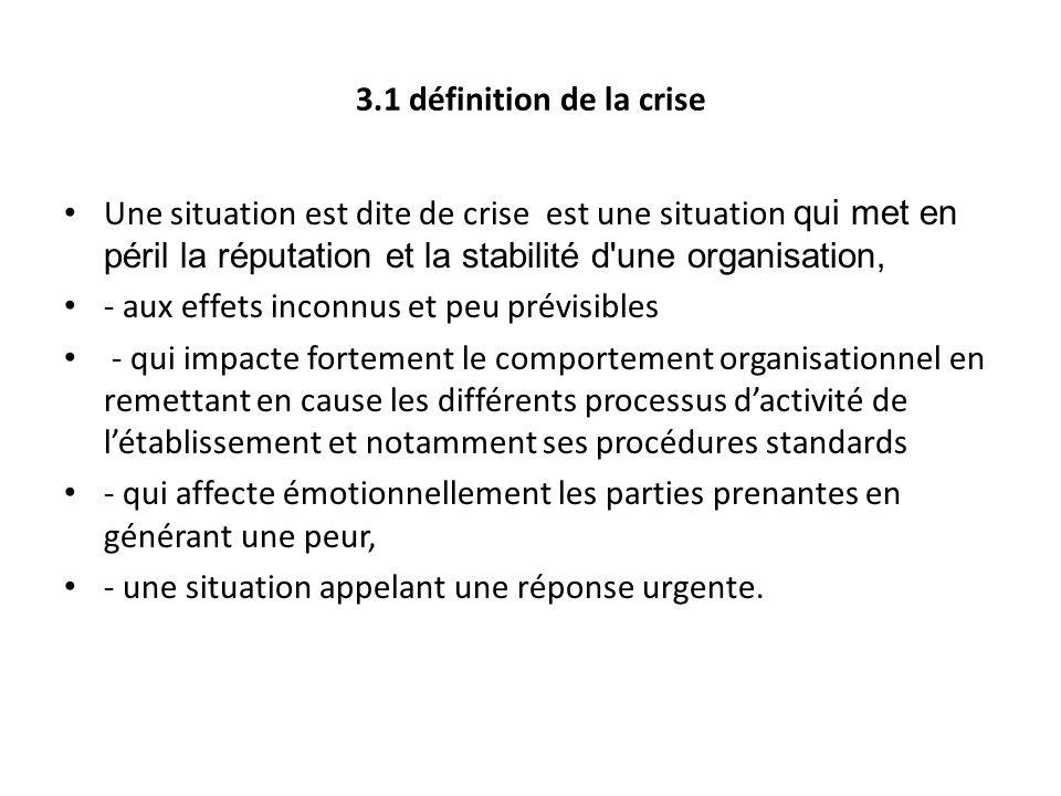 3.1 définition de la crise Une situation est dite de crise est une situation qui met en péril la réputation et la stabilité d une organisation,