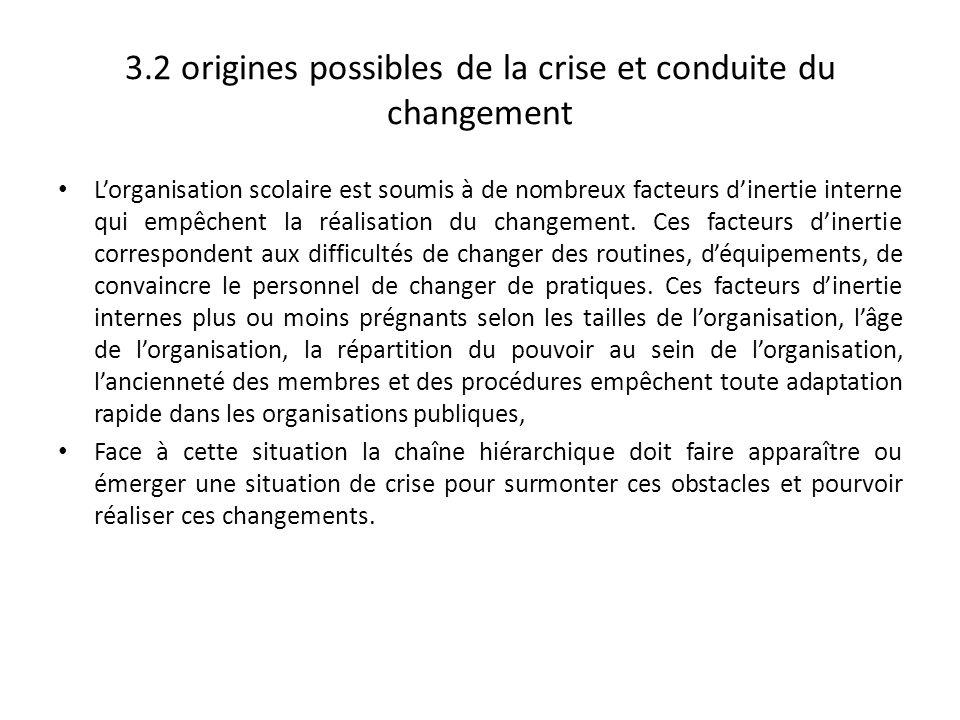 3.2 origines possibles de la crise et conduite du changement