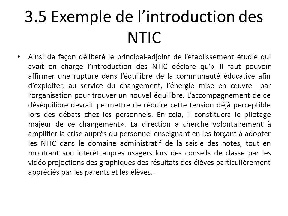 3.5 Exemple de l'introduction des NTIC