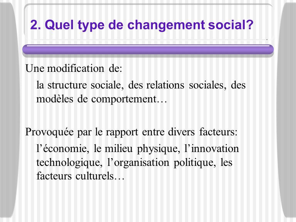 2. Quel type de changement social