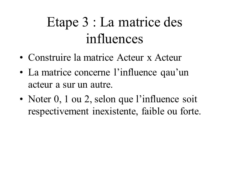 Etape 3 : La matrice des influences