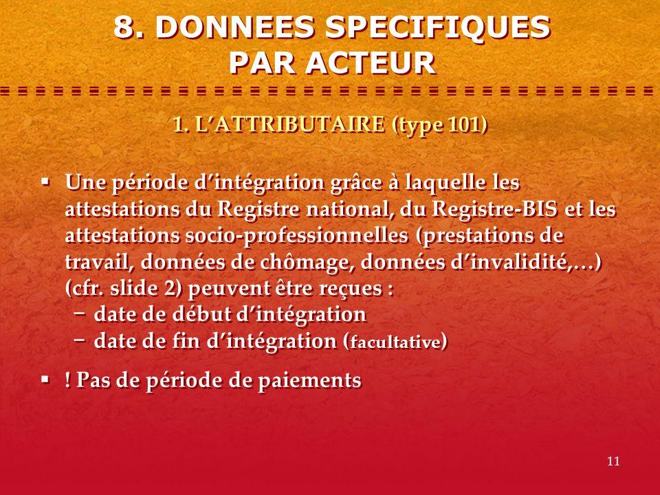 8. DONNEES SPECIFIQUES PAR ACTEUR 1. L'ATTRIBUTAIRE (type 101)