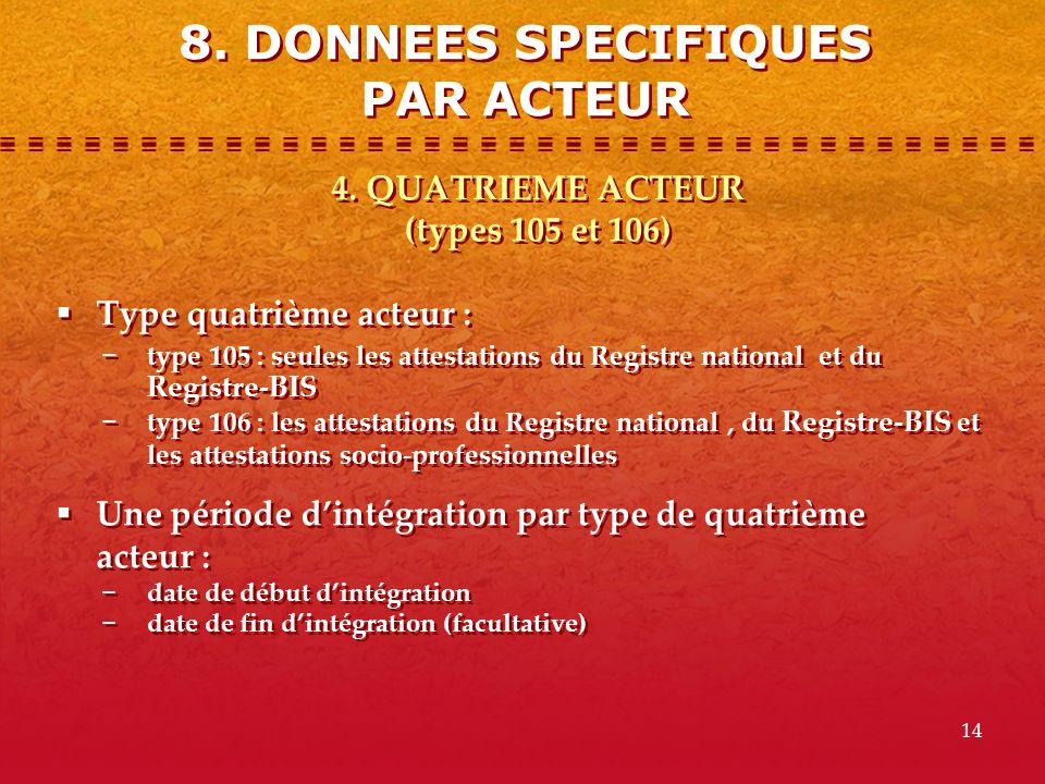 8. DONNEES SPECIFIQUES PAR ACTEUR