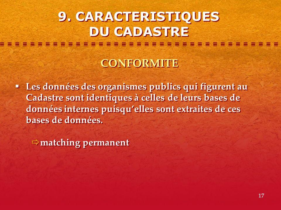 9. CARACTERISTIQUES DU CADASTRE