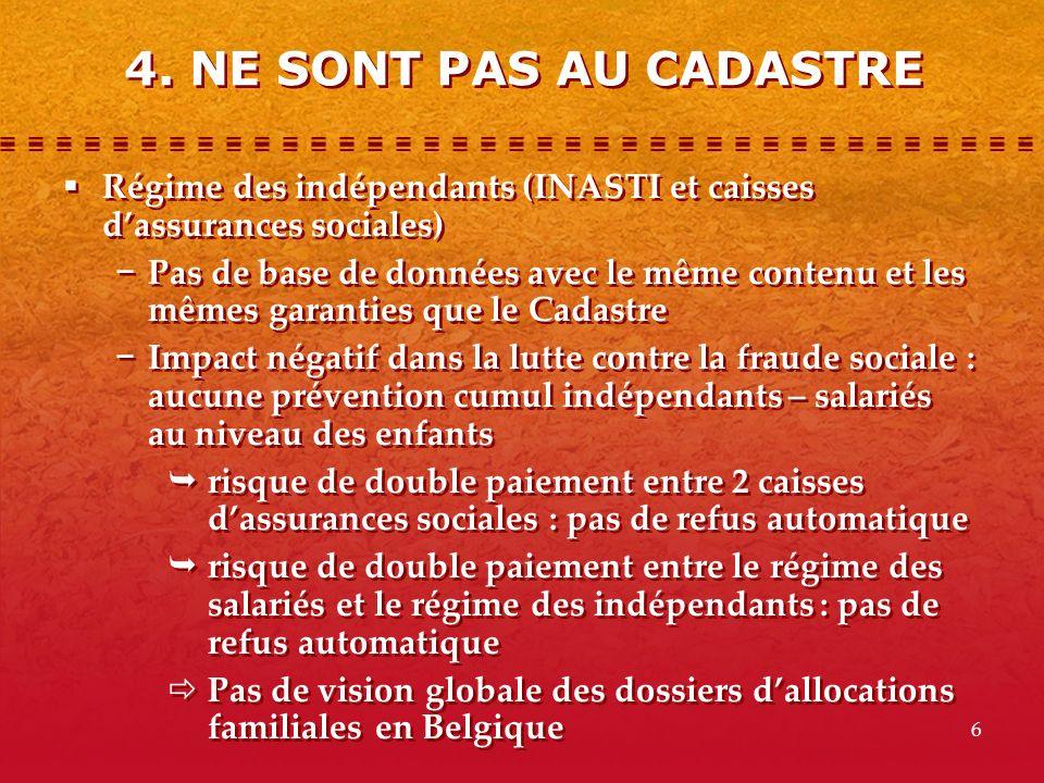 4. NE SONT PAS AU CADASTRE Régime des indépendants (INASTI et caisses d'assurances sociales)