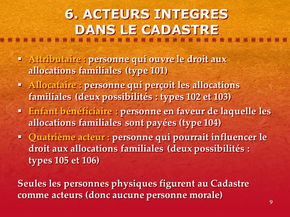 6. ACTEURS INTEGRES DANS LE CADASTRE