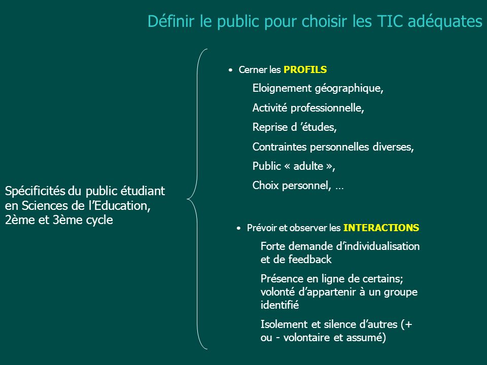 Définir le public pour choisir les TIC adéquates