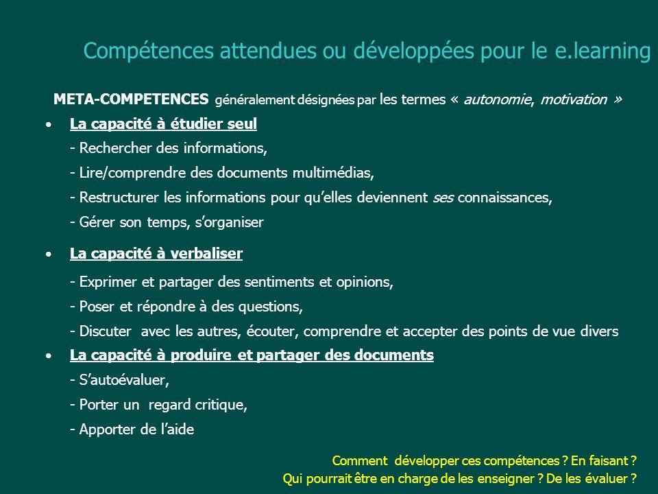 Compétences attendues ou développées pour le e.learning