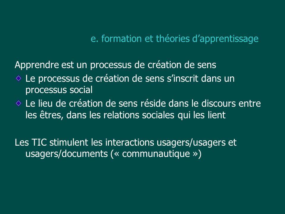 e. formation et théories d'apprentissage