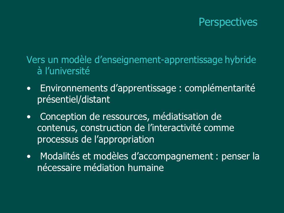 Perspectives Vers un modèle d'enseignement-apprentissage hybride à l'université. Environnements d'apprentissage : complémentarité présentiel/distant.