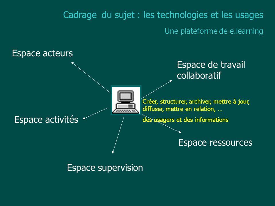 Cadrage du sujet : les technologies et les usages