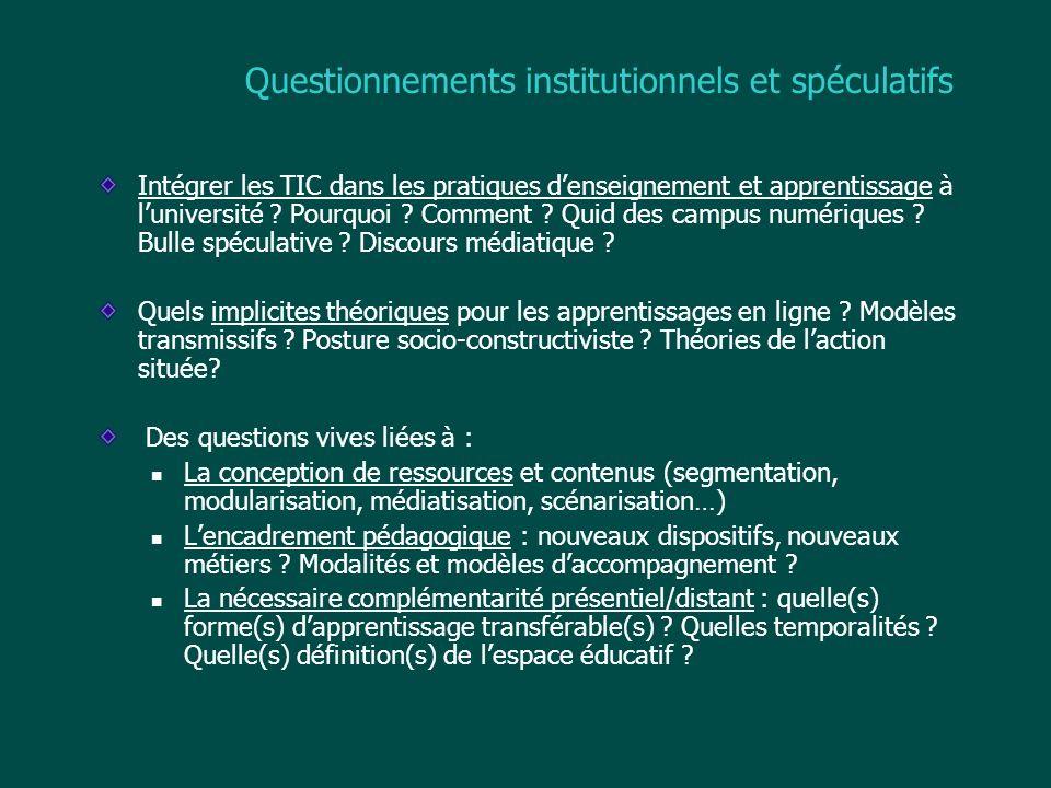 Questionnements institutionnels et spéculatifs