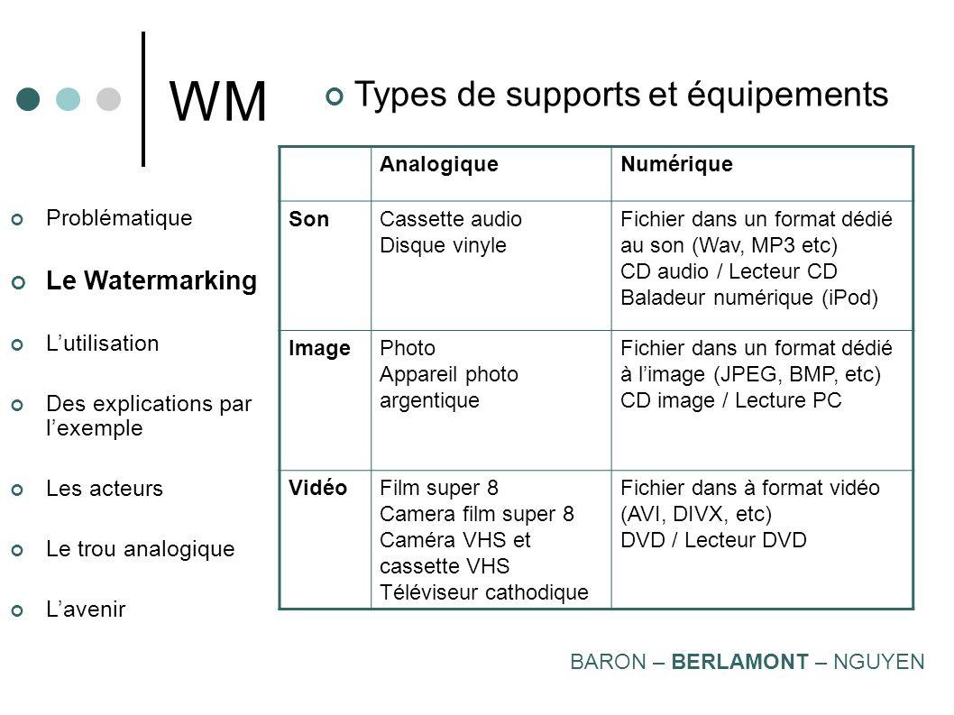 WM Types de supports et équipements Le Watermarking Problématique