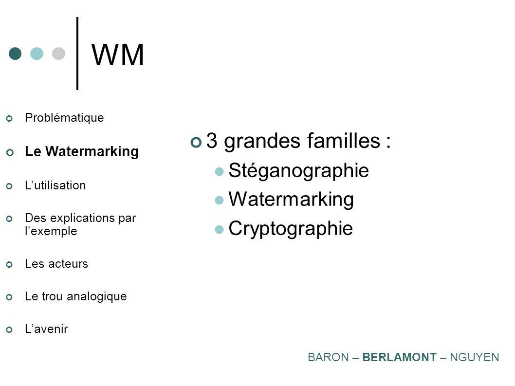 WM 3 grandes familles : Stéganographie Watermarking Cryptographie