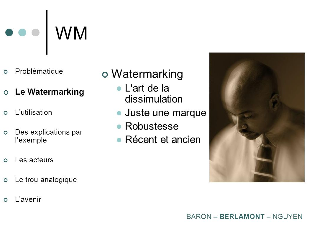 WM Watermarking L art de la dissimulation Juste une marque Robustesse