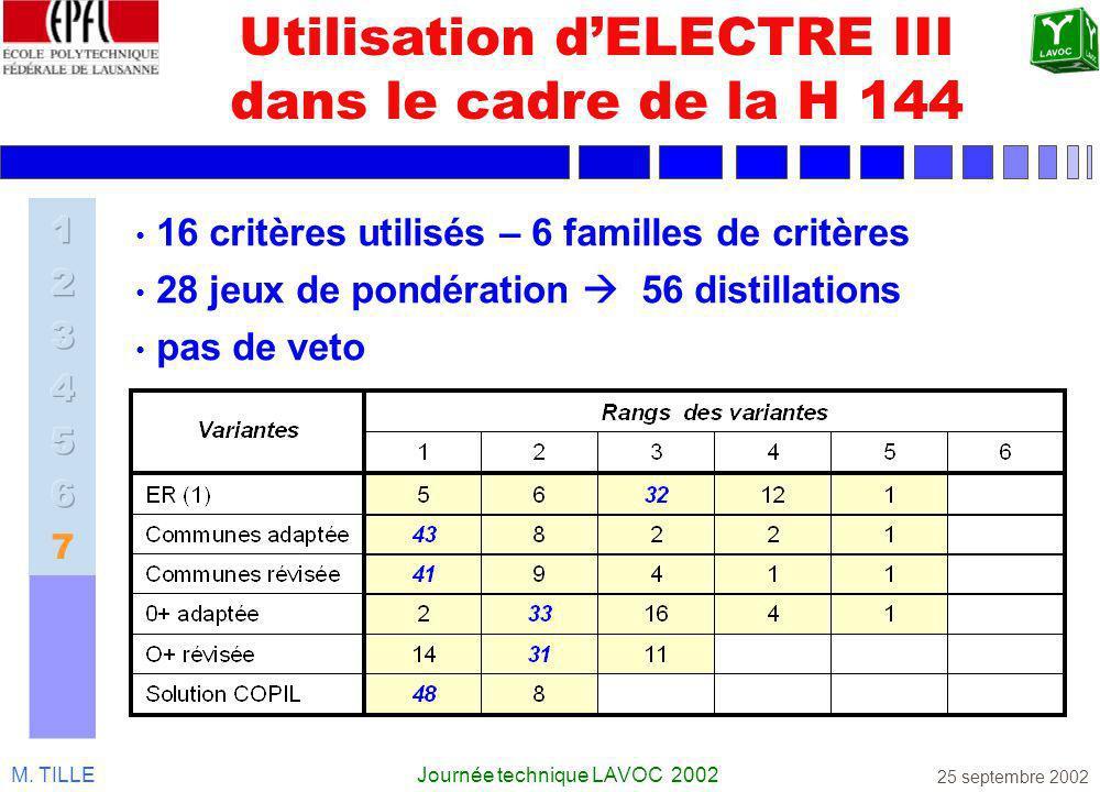 Utilisation d'ELECTRE III dans le cadre de la H 144