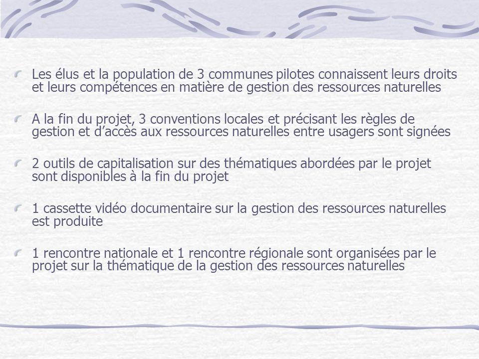 Les élus et la population de 3 communes pilotes connaissent leurs droits et leurs compétences en matière de gestion des ressources naturelles