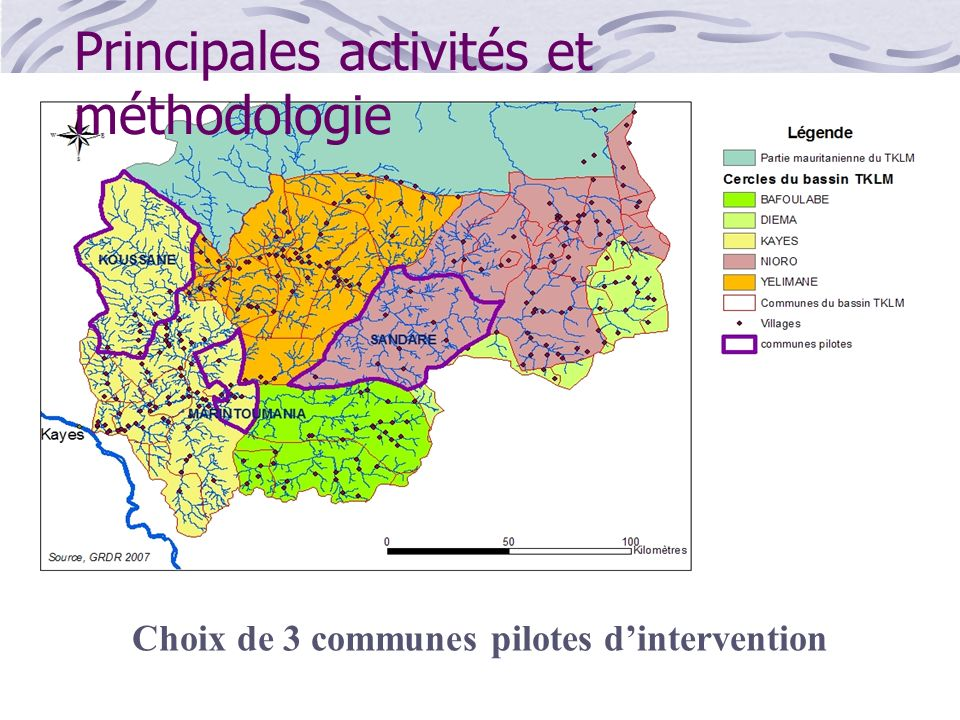 Choix de 3 communes pilotes d'intervention