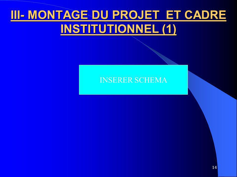 III- MONTAGE DU PROJET ET CADRE INSTITUTIONNEL (1)