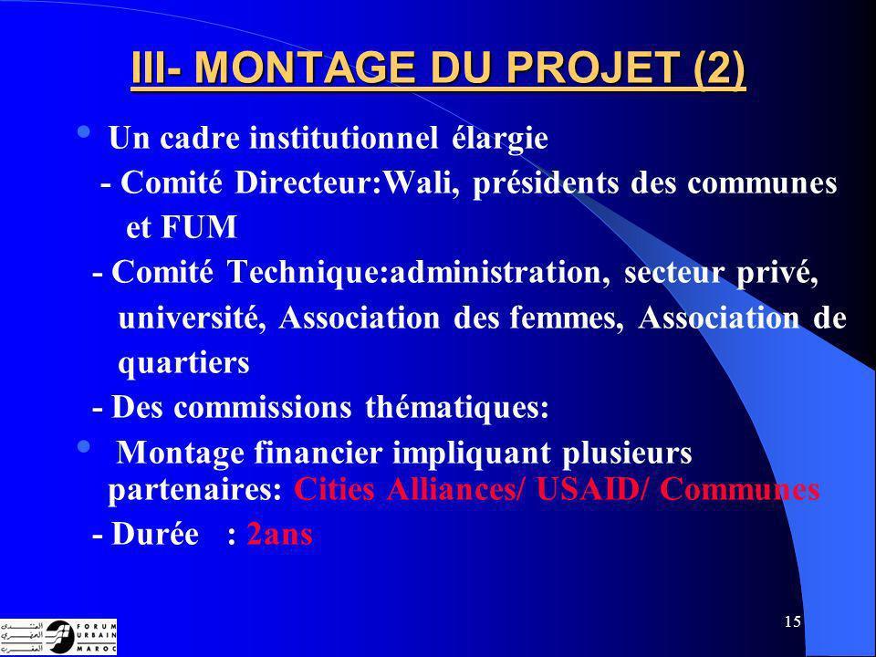 III- MONTAGE DU PROJET (2)