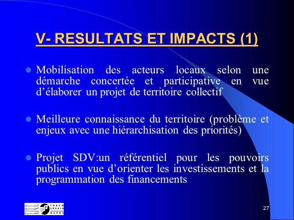 V- RESULTATS ET IMPACTS (1)